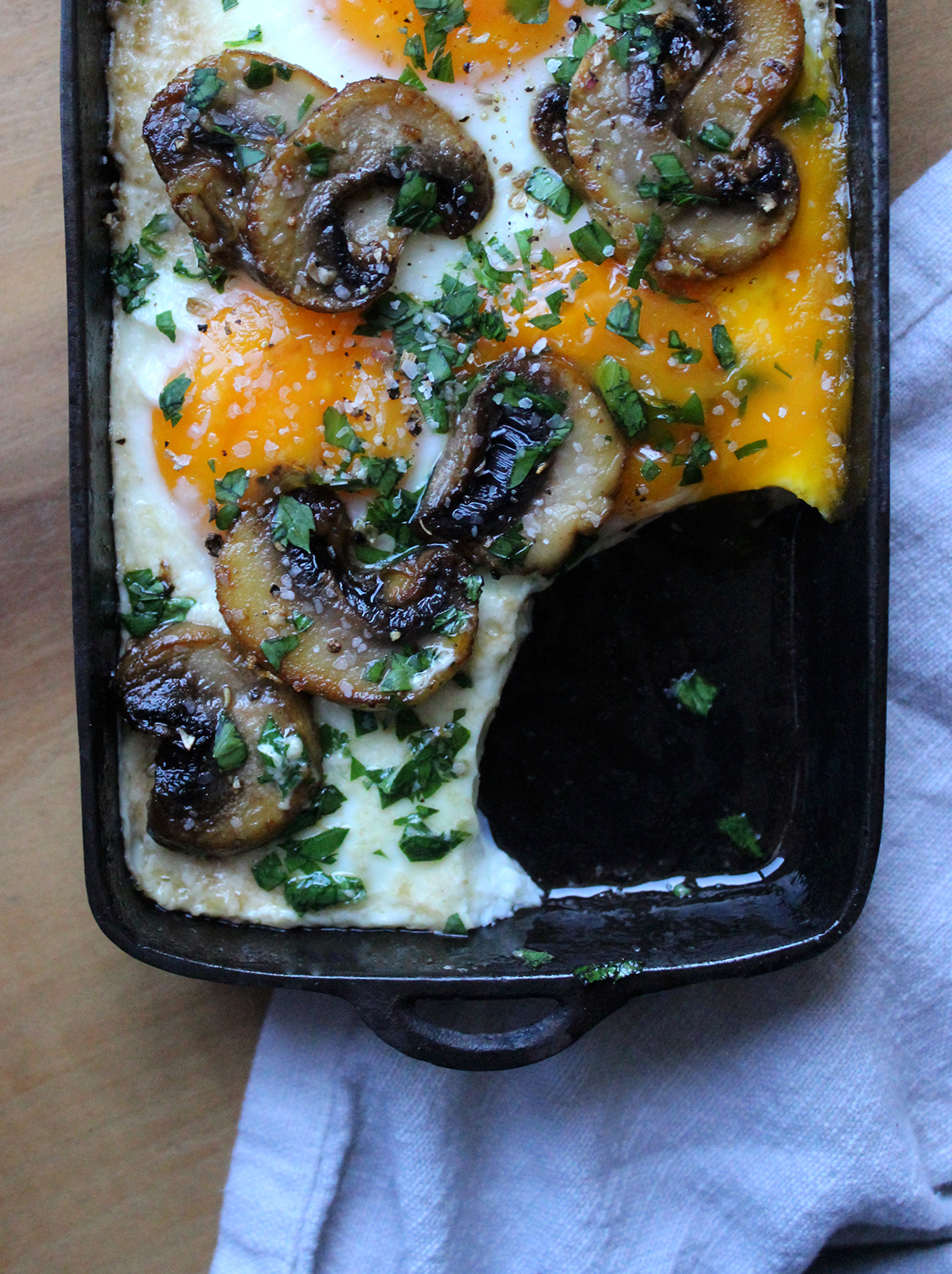 Baked eggs with garlic mushrooms one happy place baked eggs with garlic mushrooms forumfinder Gallery